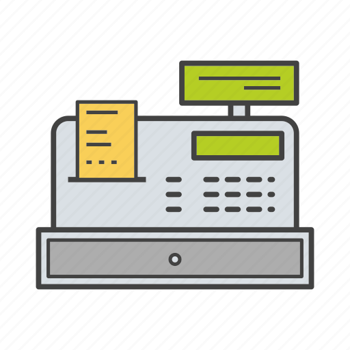 cash register, cashbox, cashier, coinbox, commerce, counter, machine icon