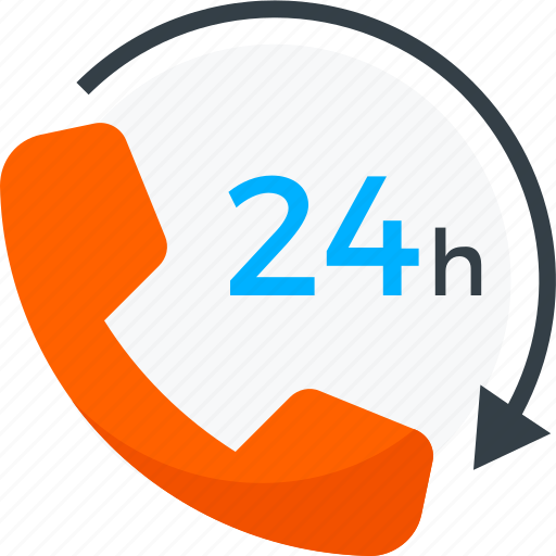 24, 24/7, help, hours, open, phone, support icon icon