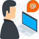 customer, feedback, help, laptop, representative, service, support icon icon