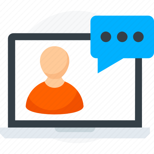 chat support, laptop, live chat, network, server icon icon