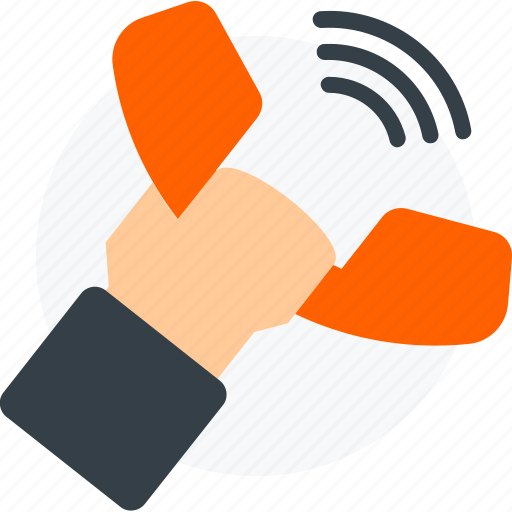 call, communication, connection, dial, hand, phone, telephone icon icon