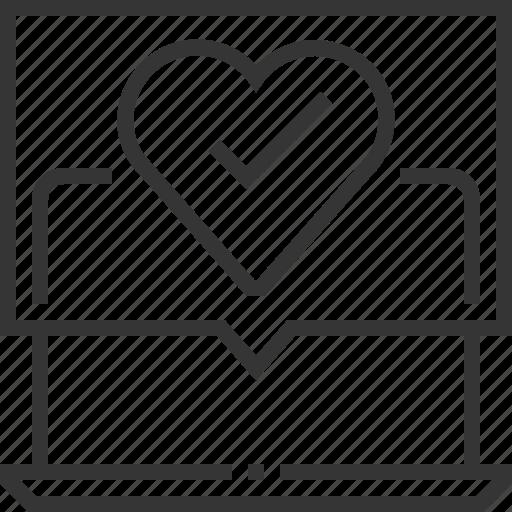 accept, advertisement, banner, computer, heart, laptop, permission marketing icon
