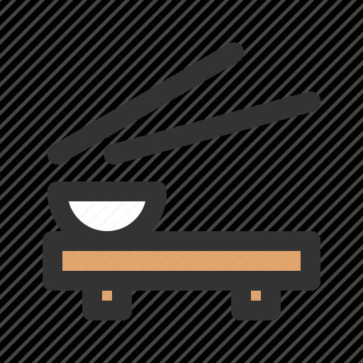 bowl, chopsticks, rice, serving icon