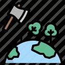axe, deforest, deforestation, destroy, forest icon