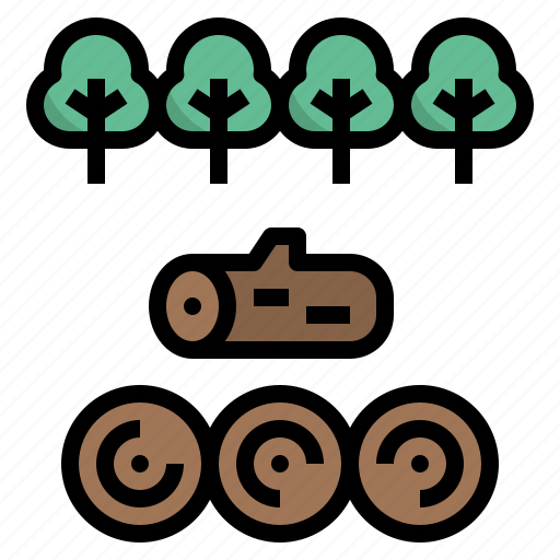 deforest, forest, log, timber, wood icon