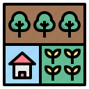 allocate, farmhouse, land, use, zone icon