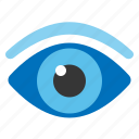 eye, eyeball, eyebrow, flat design, see, vision icon