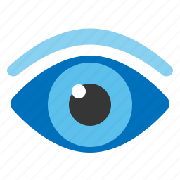 eye, eyeball, eyebrow, flat design, see, vision icon