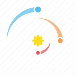 orbit, outer space, planets, solar system, space icon