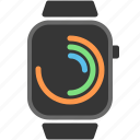 apple watch, fitbit, flat design, polar clock, watch, wearables icon