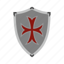 brave, danger, defense, hilt, iron, protective, shield icon