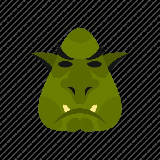 animal, creature, fantasy, halloween, head, monster, troll icon