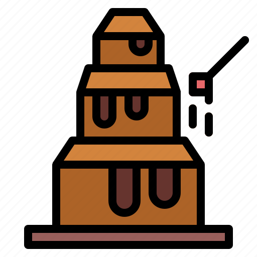 chocolate, chocolate fountain, dessert, wedding icon