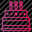 bakery, birthday, birthday cake, cake, candles icon