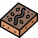 brownie, cake, chocolate, delicious, dessert, food, sweet icon