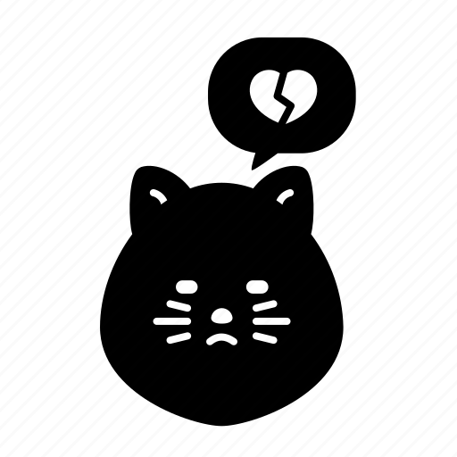 Animal, broken, cat, emoji, heart, sad, unhappy icon - Download on Iconfinder