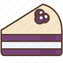 blueberry, cake, cream, dessert, sweet, white icon