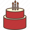 birthday, birthday cake, cake, candle, cream, red, sweet icon