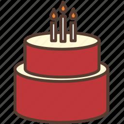 birthday, birthday cake, cake, candle, cream, red, sweet icon