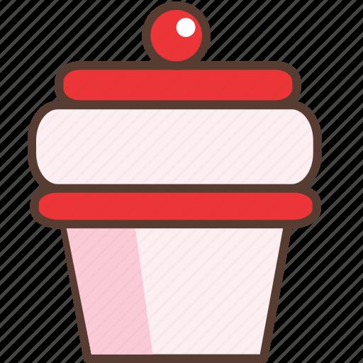 cake, cherry, cream, cupcake, dessert, strawberry, sweet icon