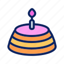 bakery, cake, candle, cheesecake, pie icon