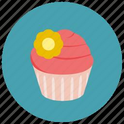 bake, cake, cupcake, dessert, frosting, pastry, pink cupcake, sweet, sweets icon