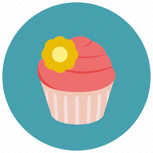 bake, cake, cupcake, dessert, frosting, pastry, pink cupcake, sweet, sweets icon