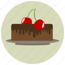 baked, cake, cherry, chocolate, dessert, pastry, sweet, sweets icon