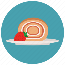 biscuit roll, cake, cake roll, creamy, dessert, fruit cake, pastry, roll, sweet, sweets icon