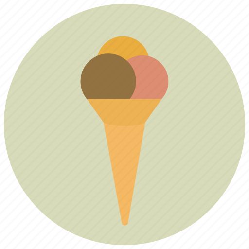 ice cream, ice cream cone, scoop, summer, sweets icon