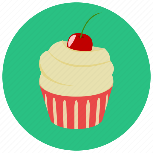 cherry, cupcake, frosting, sweets icon