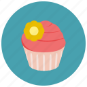 cupcake, flower, frosting, sweets icon