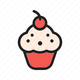 cake, cherry, cream, cupcake, cupcakes, snack, sweet icon