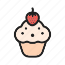 cake, cream, cupcake, cupcakes, food, strawberry, sweet icon