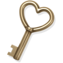 key, heart, love, gold