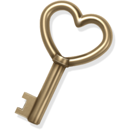 gold, heart, key, love icon
