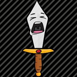 cartoon, dagger, emoji, knife, smiley, sword icon
