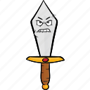 cartoon, dagger, emoji, knife, smiley, sword icon