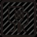 cartonbox, fork, glasses, warning icon
