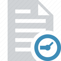 clock, document, file, paper, text icon