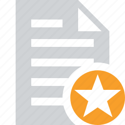 document, file, paper, star, text icon