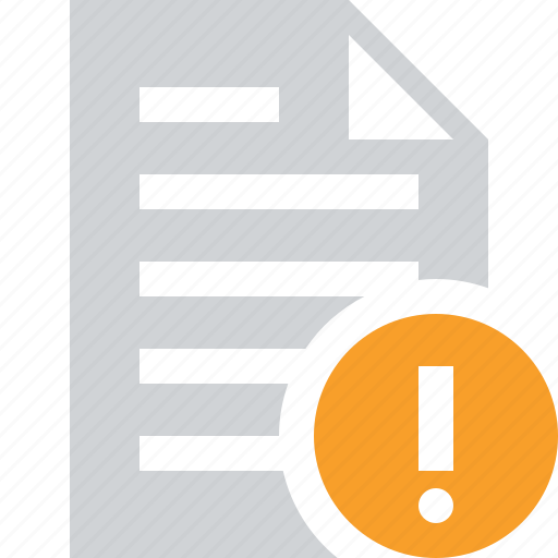 document, file, paper, text, warning icon