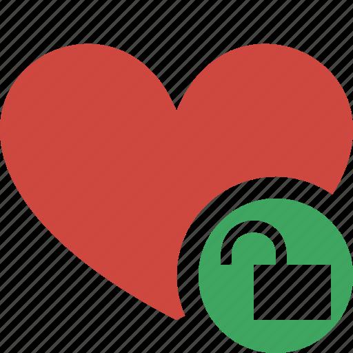 bookmark, favorites, heart, like, love, unlock icon