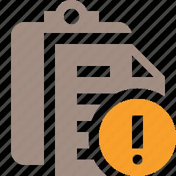 clipboard, copy, paste, task, warning icon