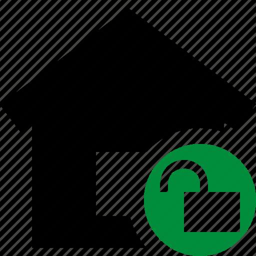 address, building, home, house, unlock icon