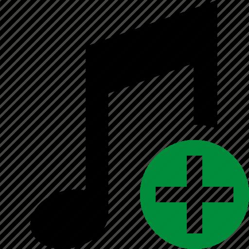 add, audio, multimedia, music, note, sound icon