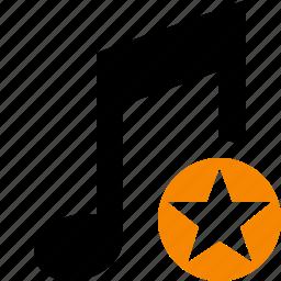 audio, multimedia, music, note, sound, star icon