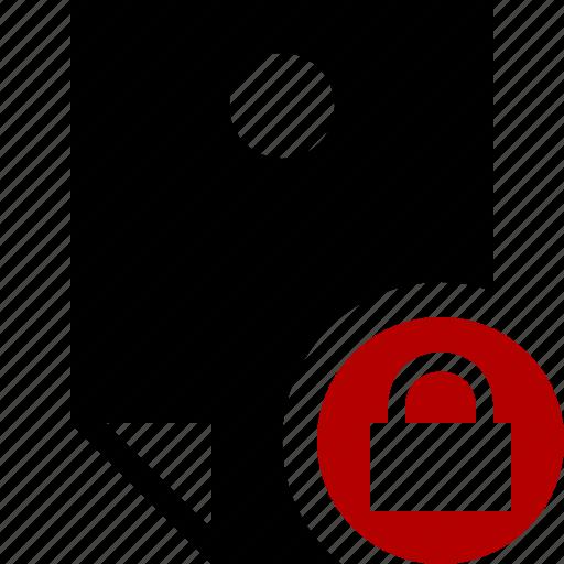 document, lock, memo, note, pin, reminder, sticker icon