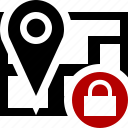 gps, location, lock, map, marker, navigation, pin icon