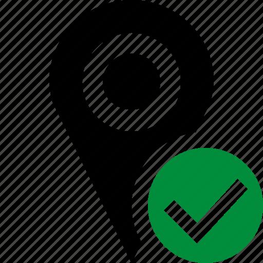 gps, location, map, marker, navigation, ok, pin icon